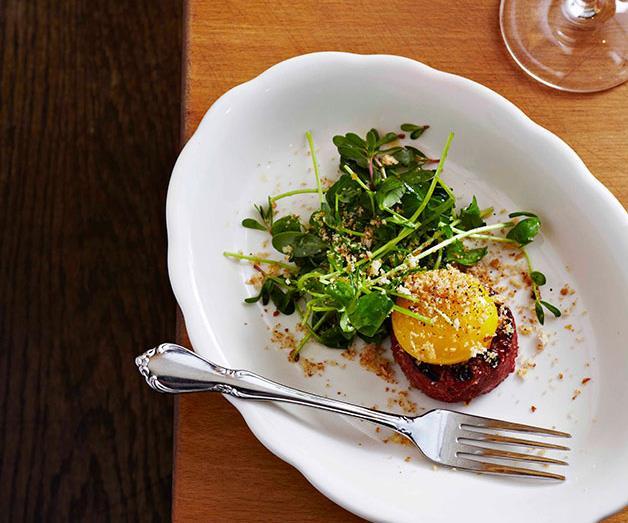 "[**Torrisi's fresh pepperoni, steamed egg yolk, mint**](https://www.gourmettraveller.com.au/recipes/browse-all/fresh-pepperoni-steamed-egg-yolk-mint-11497|target=""_blank"")"