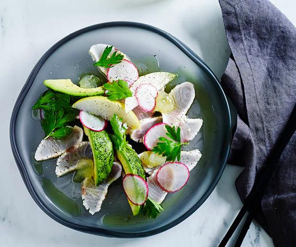 "**[Matt Moran's seared kingfish with radish, avocado and wasabi](https://www.gourmettraveller.com.au/recipes/chefs-recipes/seared-kingfish-with-radish-avocado-and-wasabi-8284|target=""_blank"")**"