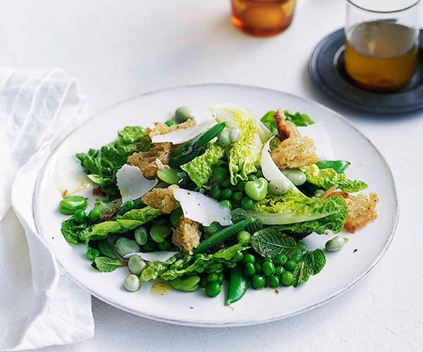 "**[Pea, broad bean and torn bread salad](https://www.gourmettraveller.com.au/recipes/fast-recipes/pea-broad-bean-and-torn-bread-salad-13080|target=""_blank"")**"