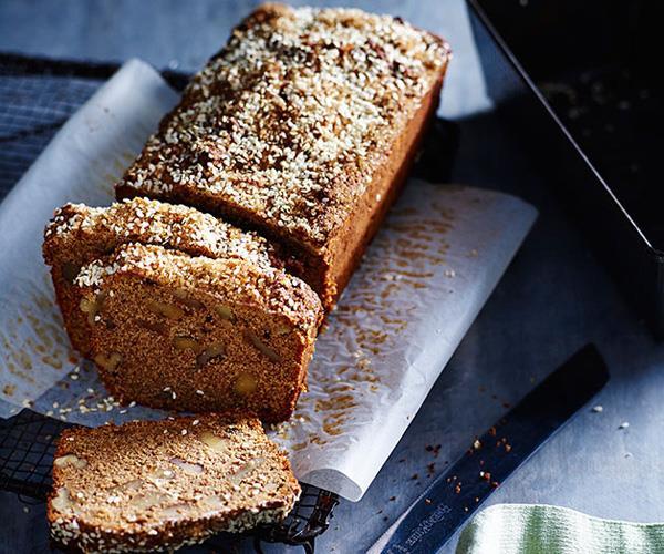 """**[Molasses sugar and sesame banana cake](http://www.gourmettraveller.com.au/recipes/chefs-recipes/molasses-sugar-and-sesame-banana-cake-8153 target=""""_blank"""")**"""