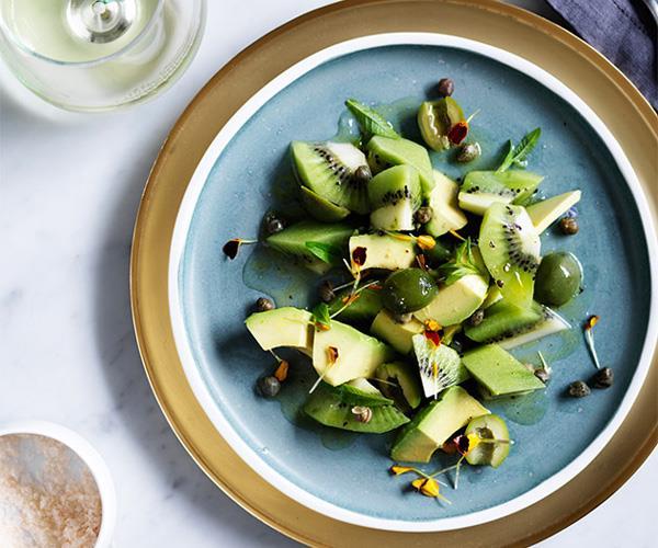 "**[Avocado and kiwi salad](https://www.gourmettraveller.com.au/recipes/chefs-recipes/avocado-and-kiwi-salad-8602|target=""_blank"")**"