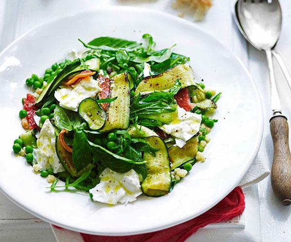 "**[Zucchini, guanciale, mozzarella and fregola salad](https://www.gourmettraveller.com.au/recipes/fast-recipes/zucchini-guanciale-mozzarella-and-fregola-salad-13346|target=""_blank"")**"