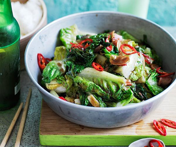 "**[Stir-fried lettuce with bacon](http://www.gourmettraveller.com.au/recipes/browse-all/stir-fried-lettuce-with-bacon-12448|target=""_blank"")**"