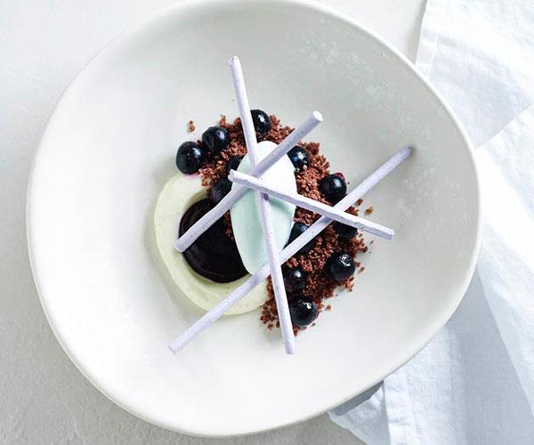 "**[Brent Savage's violet ice-cream, blueberry, vanilla cream and meringue](https://www.gourmettraveller.com.au/recipes/chefs-recipes/violet-ice-cream-blueberry-vanilla-cream-and-meringue-8257|target=""_blank"")**"