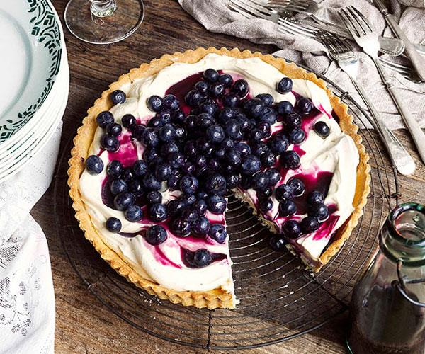 "**[Blueberry tart with blueberry syrup](https://www.gourmettraveller.com.au/recipes/browse-all/blueberry-tart-10333|target=""_blank"")**"