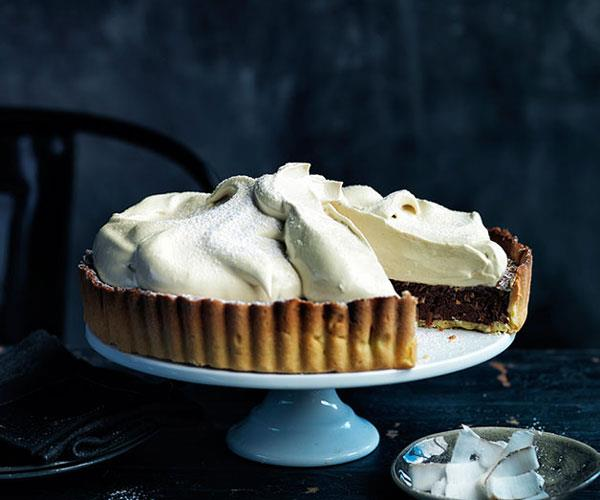 "**[Chocolate coconut meringue pie](https://www.gourmettraveller.com.au/recipes/browse-all/chocolate-coconut-meringue-pie-11736|target=""_blank"")**"