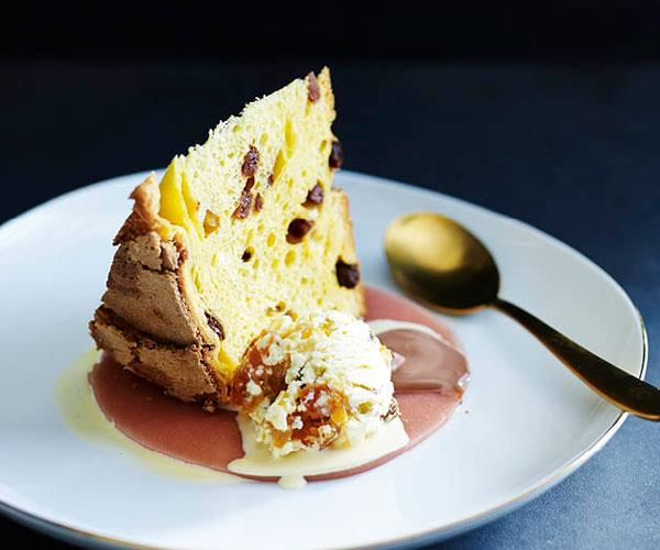 "**[Lorraine Godsmark's peachy panettone with cassata ice-cream](https://www.gourmettraveller.com.au/recipes/chefs-recipes/peachy-panettone-with-cassata-ice-cream-8355|target=""_blank"")**"
