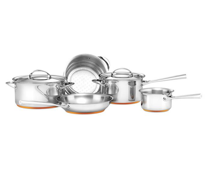 "Made in Italy, this cookware set is a must-have for the culinary whiz. The oven- and dishwasher-safe set is made from stainless steel with a copper base, providing even heat distribution so you can sear, sauté and simmer with ease. <br><br> [Essteele Per Vita Stainless Steel Copper 5 Piece Cookware Set](https://www.essteele.com.au/essteele-per-vita-5-piece-cookware-set.html|target=""_blank""