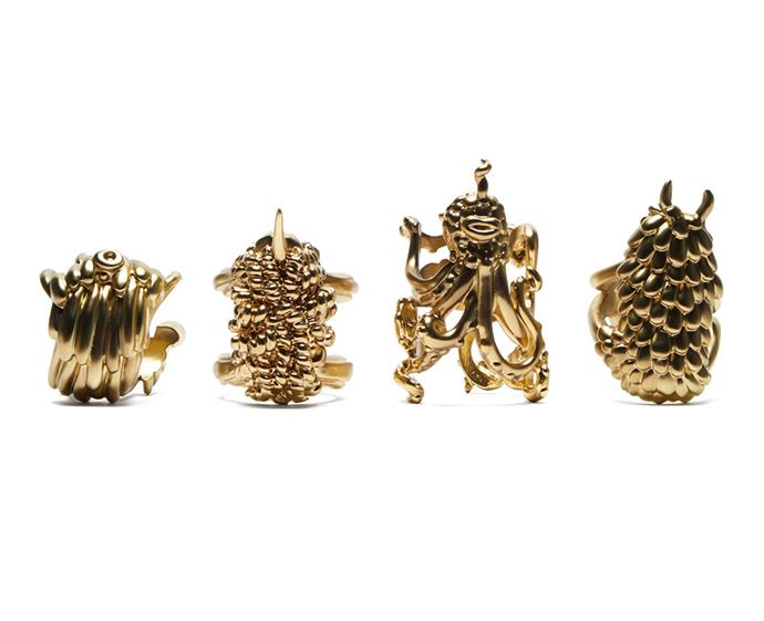 "These brass napkin rings will add a touch of whimsy to your next dinner party. These four monster-like creatures – a collaboration between L'Objet and artists Simon and Nikolai Hass – are inspired by the scenery of California's Joshua Tree National Park, and feature intricately carved details of the creatures' scales, fur and tentacles. Guaranteed conversation starters.  <br><br> L'Objet x Haas Brothers Monster Ball napkin rings, $429, [matchesfashion.com](https://www.matchesfashion.com/au/products/L'Objet-X-Haas-Brothers-Monster-Ball-napkin-rings-1294391|target=""_blank""
