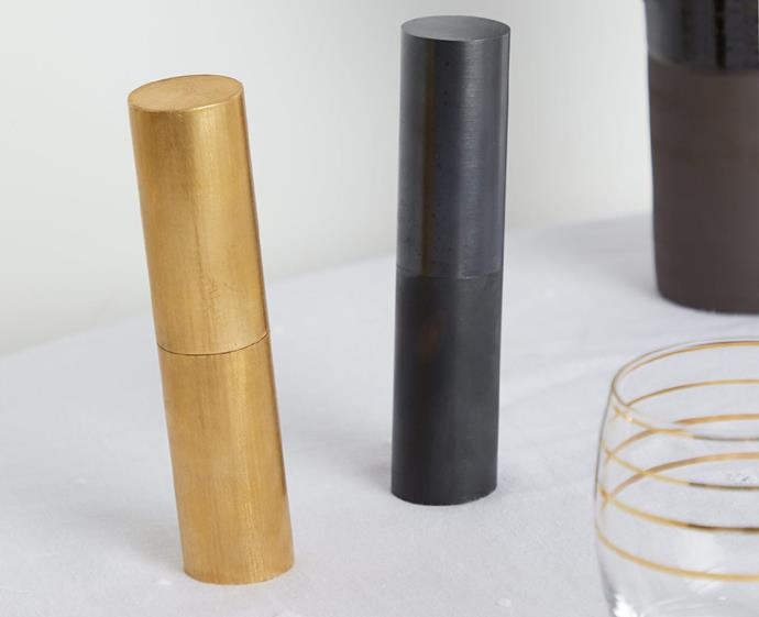 """Bring a hint of Bauhaus to your dining setting with this sculptural pepper mill. Design-lovers will fall for the cylindrical silhouette, the asymmetric base, and that sleek, brushed gold-toned brass finish.  <br><br> Carl Auböck Brushed-Brass Pepper Mill, $862, [matchesfashion.com](https://www.matchesfashion.com/au/products/Carl-Aub%C3%B6ck-Brushed-brass-pepper-mill-1317649 target=""""_blank"""" rel=""""nofollow"""")"""