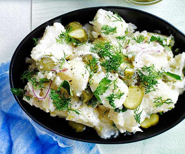 "**[Old-school German-style crushed potato salad with dill pickles](https://www.gourmettraveller.com.au/recipes/browse-all/old-school-german-style-crushed-potato-salad-with-dill-pickles-11865|target=""_blank"")**"