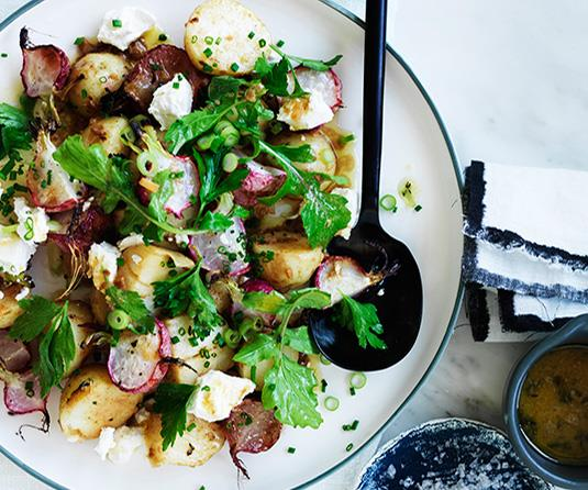 "**[Roast radish and potato salad](https://www.gourmettraveller.com.au/recipes/fast-recipes/roast-radish-and-potato-salad-13794|target=""_blank"")**"