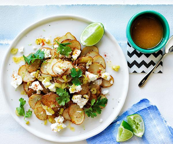 "**[Warm golden potato salad with lime butter and coriander](https://www.gourmettraveller.com.au/recipes/browse-all/warm-golden-potato-salad-with-lime-butter-and-coriander-11861|target=""_blank"")**"