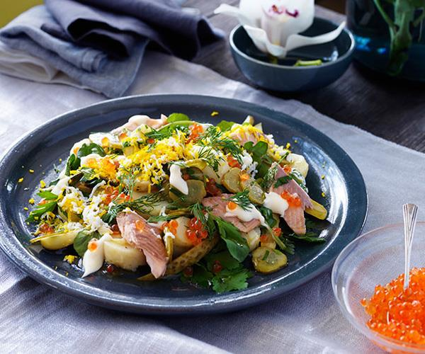 "**[Martin Boetz's potato salad with smoked trout](https://www.gourmettraveller.com.au/recipes/chefs-recipes/potato-salad-with-smoked-trout-7947|target=""_blank"")**"