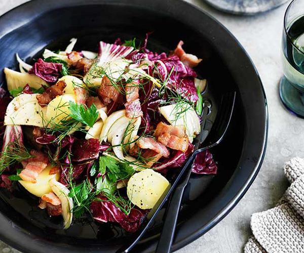 "**[Potato, bacon and pickled fennel salad](https://www.gourmettraveller.com.au/recipes/browse-all/potato-bacon-and-pickled-fennel-salad-12487|target=""_blank"")**"