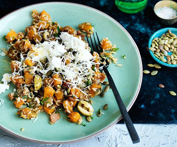 "**[Pumpkin with brown rice and toasted seeds](https://www.gourmettraveller.com.au/recipes/fast-recipes/pumpkin-with-brown-rice-and-toasted-seeds-13729|target=""_blank"")**"