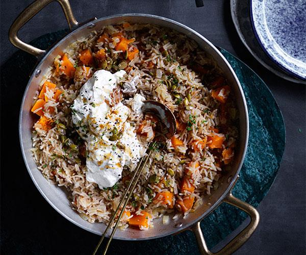 "**[Pumpkin pilaf with ricotta and pepitas](https://www.gourmettraveller.com.au/recipes/fast-recipes/pumpkin-pilaf-with-ricotta-and-pepitas-13804|target=""_blank"")**"