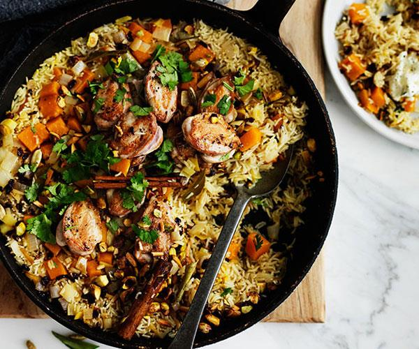 "**[Fragrant pumpkin rice with quail](https://www.gourmettraveller.com.au/recipes/browse-all/fragrant-pumpkin-rice-with-quail-12320|target=""_blank"")**"