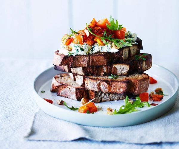 "[**Pumpkin, herbed ricotta and hazelnut bruschetta**](https://www.gourmettraveller.com.au/recipes/fast-recipes/pumpkin-herbed-ricotta-and-hazelnut-bruschetta-13836|target=""_blank"")"