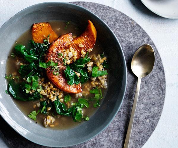 "[**Silverbeet, pumpkin and farro broth**](https://www.gourmettraveller.com.au/recipes/fast-recipes/silverbeet-pumpkin-and-farro-broth-13732|target=""_blank"")"