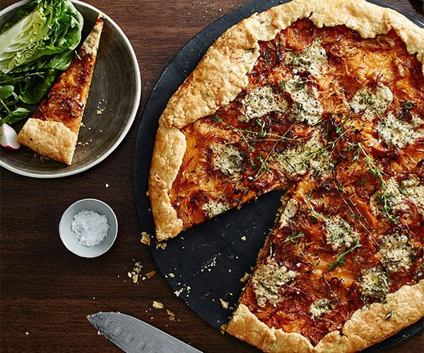 "[**Fred's pumpkin galette with blue cheese and thyme**](https://www.gourmettraveller.com.au/recipes/chefs-recipes/freds-pumpkin-galette-with-blue-cheese-and-thyme-9312|target=""_blank"")"