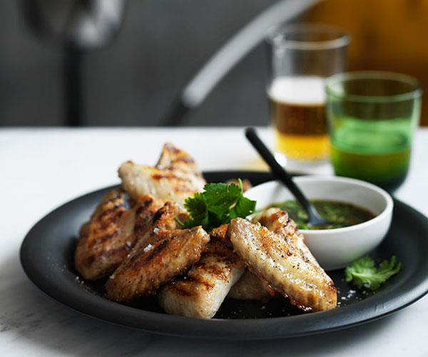 "**[Grilled chicken wings with nahm jim](https://www.gourmettraveller.com.au/recipes/fast-recipes/grilled-chicken-wings-with-nahm-jim-13637|target=""_blank"")**"