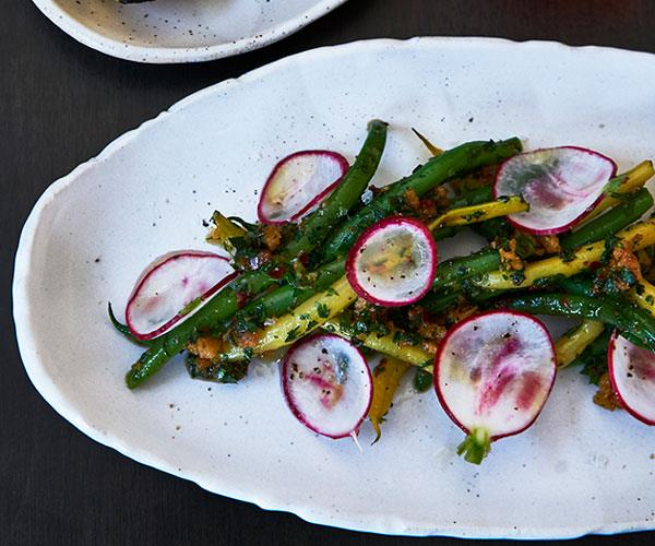 "**[Curtis Stone's green beans, radishes and chimichurri](https://www.gourmettraveller.com.au/recipes/chefs-recipes/green-beans-and-radishes-8486|target=""_blank"")**"