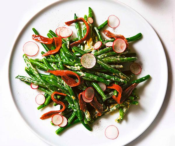 "**[Andrew McConnell's green bean salad with anchovy and mustard dressing](https://www.gourmettraveller.com.au/recipes/browse-all/green-bean-salad-with-anchovy-and-mustard-dressing-10942|target=""_blank"")**"
