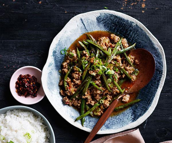 "**[Chinese-style stir-fried pork and beans](https://www.gourmettraveller.com.au/recipes/fast-recipes/chinese-style-stir-fried-pork-and-beans-13628|target=""_blank"")**"