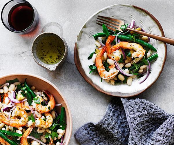 "**[Prawn and bean salad with preserved lemon dressing](https://www.gourmettraveller.com.au/recipes/fast-recipes/prawn-and-bean-salad-with-preserved-lemon-dressing-13717|target=""_blank"")**"