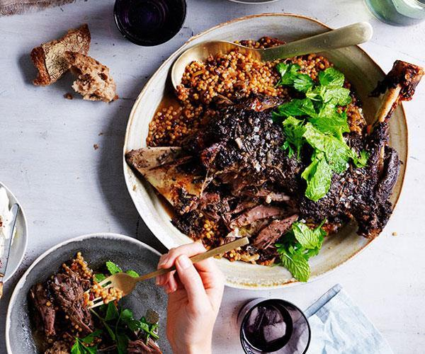 "**[Eight-hour lamb shoulder with Israeli couscous and labne](https://www.gourmettraveller.com.au/recipes/browse-all/eight-hour-lamb-shoulder-with-israeli-couscous-and-labne-11993|target=""_blank"")**"
