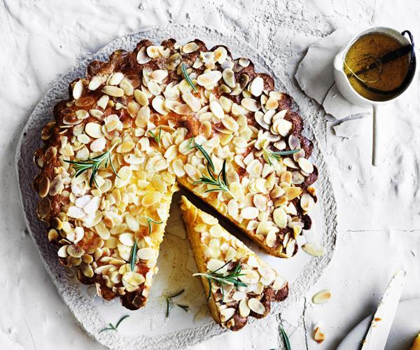 "**[Ricotta-polenta cake with lemon-rosemary syrup](https://www.gourmettraveller.com.au/recipes/browse-all/ricotta-polenta-cake-with-lemon-rosemary-syrup-12895|target=""_blank"")**"