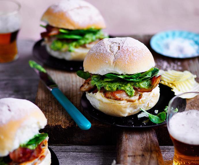 "[Chicken, bacon and avocado burger](https://www.gourmettraveller.com.au/recipes/browse-all/chicken-bacon-and-avocado-burger-12685|target=""_blank"") <br> *Photo: Ben Dearnley*"