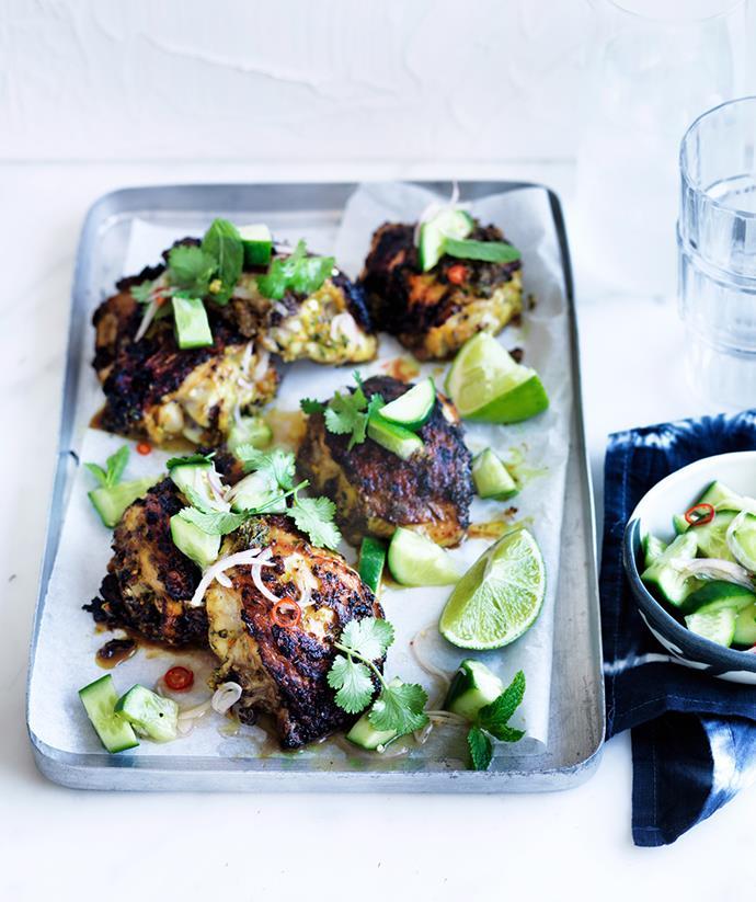 "[Turmeric chicken with cucumber salad](https://www.gourmettraveller.com.au/recipes/fast-recipes/turmeric-chicken-with-cucumber-salad-13796|target=""_blank"") <br> *Photo: William Meppem*"