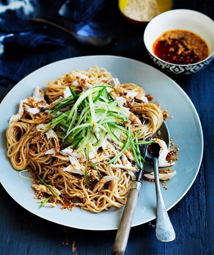 "[Sichuan chicken noodle salad](https://www.gourmettraveller.com.au/recipes/browse-all/sichuan-chicken-noodle-salad-12191|target=""_blank"") <br> *Photo: William Meppem*"