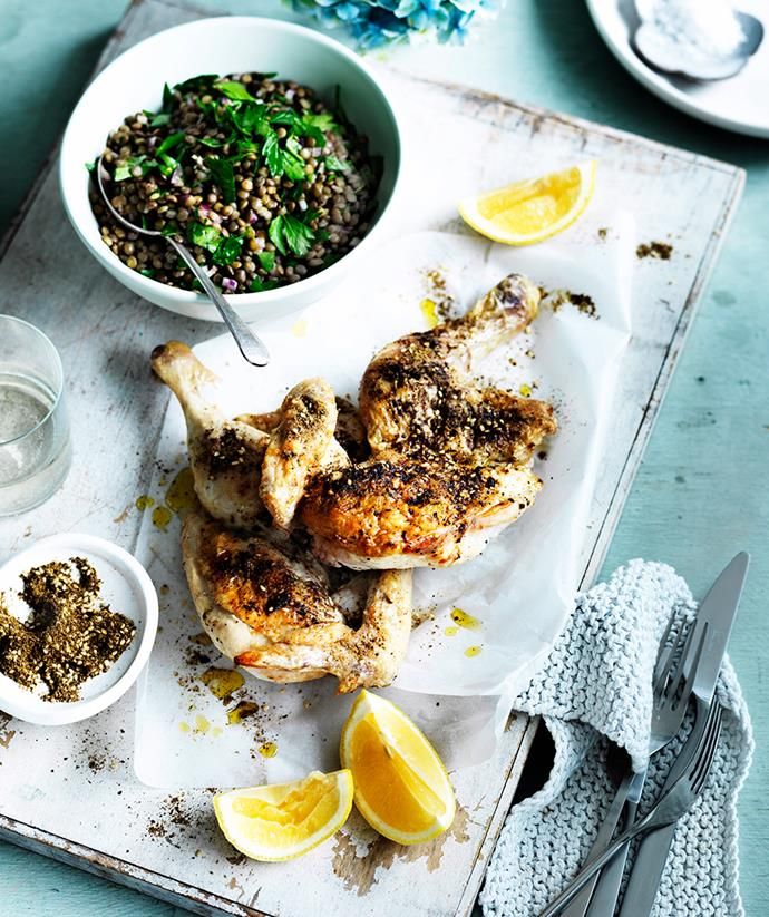 "[Za'atar chicken with lentils](https://www.gourmettraveller.com.au/recipes/fast-recipes/zaatar-chicken-with-lentils-13585|target=""_blank"") <br> *Photo: William Meppem*"