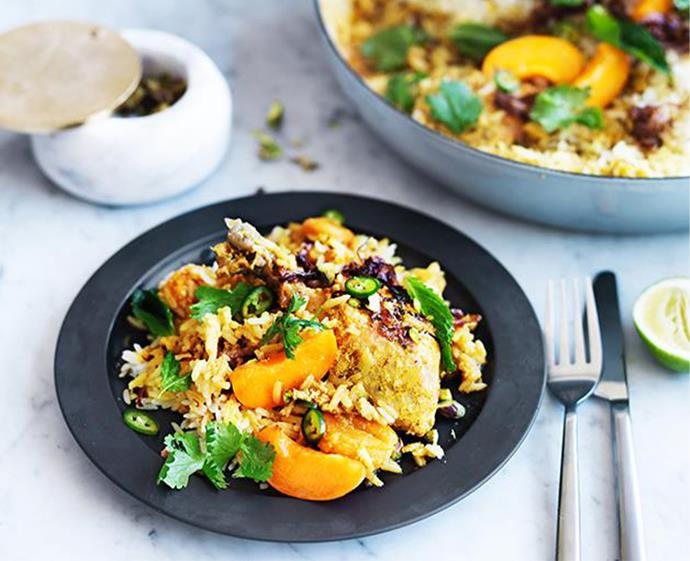 "[Apricot chicken biryani](https://www.gourmettraveller.com.au/recipes/browse-all/apricot-chicken-biryani-12727|target=""_blank"") <br><br> *Photo: William Meppem*"