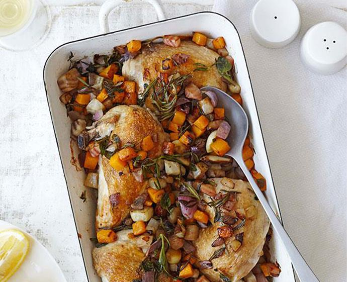 "[Roast chicken with autumn vegetables and rosemary](https://www.gourmettraveller.com.au/recipes/fast-recipes/roast-chicken-with-autumn-vegetables-and-rosemary-13354|target=""_blank"") <br><br> *Photo: James Moffat*"
