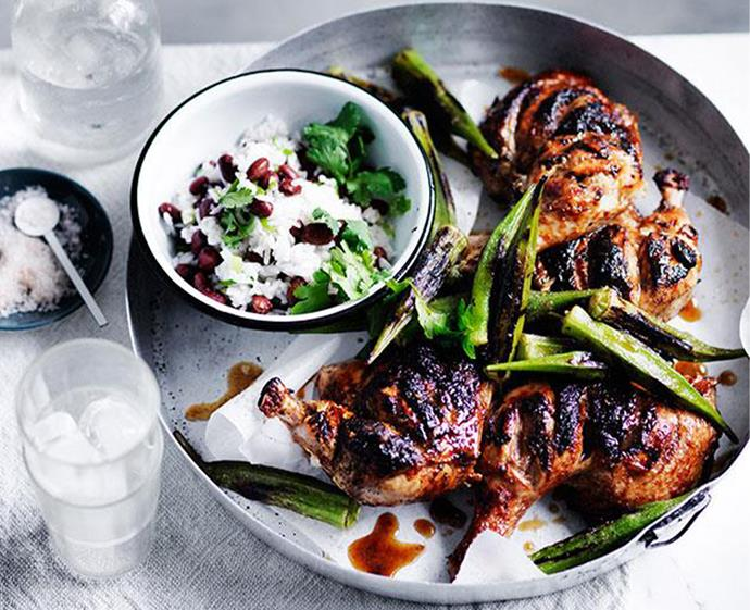 "[Barbecued chicken with blackened okra](https://www.gourmettraveller.com.au/recipes/fast-recipes/barbecued-chicken-with-blackened-okra-13676|target=""_blank"") <br><br> *Photo: Ben Dearnley*"