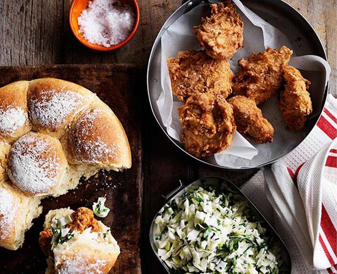 "[Fried chicken and coleslaw rolls](https://www.gourmettraveller.com.au/recipes/browse-all/fried-chicken-and-coleslaw-rolls-11512|target=""_blank"") <br><br> *Photo: William Meppem*"