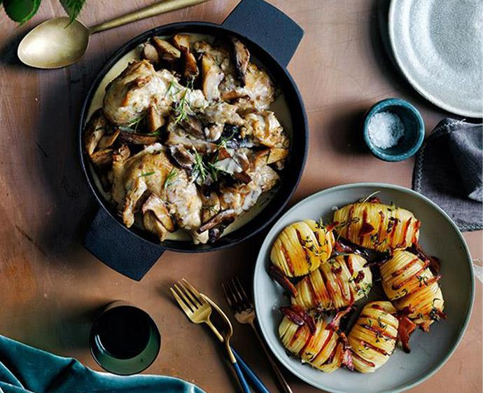 "[Braised chicken with mushrooms](https://www.gourmettraveller.com.au/recipes/browse-all/braised-chicken-with-mushrooms-12781|target=""_blank"") <br><br> *Photo: Christ Court*"