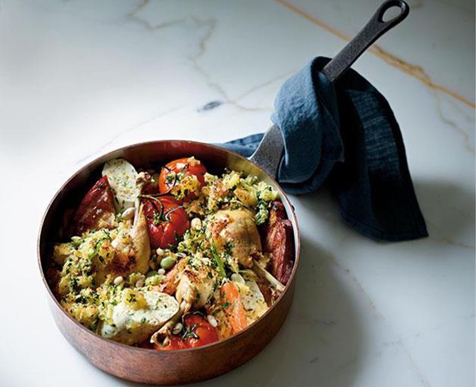 "[Summer chicken cassoulet](https://www.gourmettraveller.com.au/recipes/chefs-recipes/summer-chicken-cassoulet-7987|target=""_blank"") <br><br> *Photo: Mark Roper*"