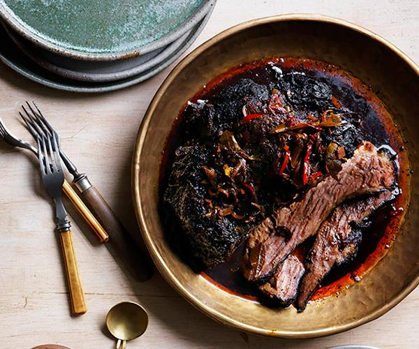 "**[O Tama Carey's black braised brisket](https://www.gourmettraveller.com.au/recipes/chefs-recipes/o-tama-careys-black-braised-brisket-8595|target=""_blank"")**"