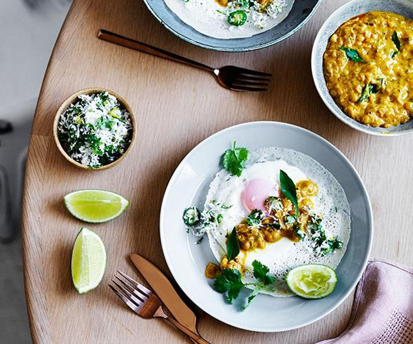 "**[Egg hoppers with green sambol and coconut gravy](https://www.gourmettraveller.com.au/recipes/browse-all/egg-hoppers-with-green-sambol-and-coconut-gravy-12468|target=""_blank"")**"