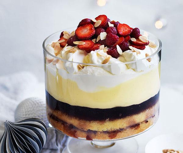 """**[Amontillado sherry and raspberry trifle](https://www.gourmettraveller.com.au/recipes/browse-all/amontillado-sherry-and-raspberry-trifle-12416