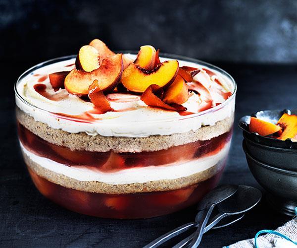 "**[Peach, almond and prosecco trifle](https://www.gourmettraveller.com.au/recipes/browse-all/peach-almond-and-prosecco-trifle-12645|target=""_blank"")**"