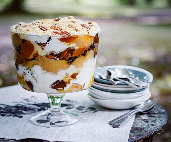 "**[Peter Gilmore's quince, pecan and crème caramel trifle with Gretchen's honey cream](https://www.gourmettraveller.com.au/recipes/chefs-recipes/peter-gilmores-quince-pecan-and-creme-caramel-trifle-with-gretchens-honey-cream-8423|target=""_blank""