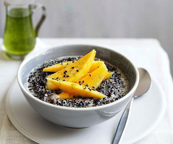 "[**Black quinoa with coconut, mango and kaffir lime syrup**](https://www.gourmettraveller.com.au/recipes/chefs-recipes/black-quinoa-with-coconut-mango-and-kaffir-lime-syrup-7784|target=""_blank"")"
