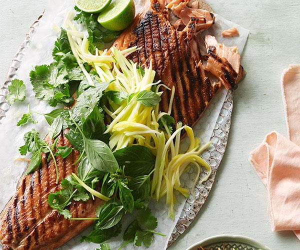 "[**Barbecued ocean trout with green mango and shallot salad**](https://www.gourmettraveller.com.au/recipes/browse-all/barbecued-ocean-trout-with-green-mango-and-shallot-salad-11905|target=""_blank"")"