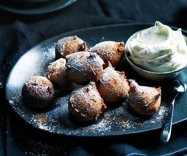 """[**Sour cherry fritters with boozy mascarpone**](https://www.gourmettraveller.com.au/recipes/browse-all/sour-cherry-fritters-with-boozy-mascarpone-11750